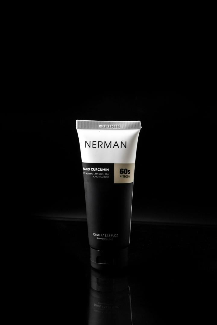 Combo 2 Gel rửa mặt trị mụn Nerman Nano Curcumin 60s Fresh